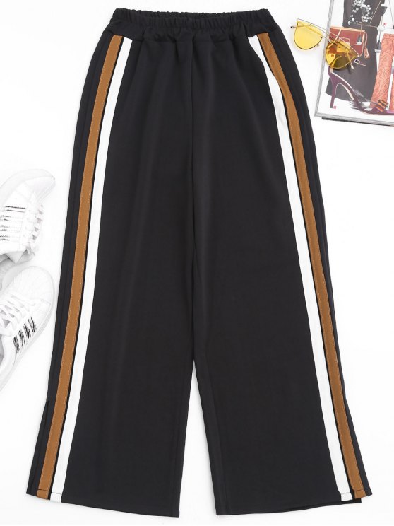 Slit Side Stripe Pants - Marrom Claro S