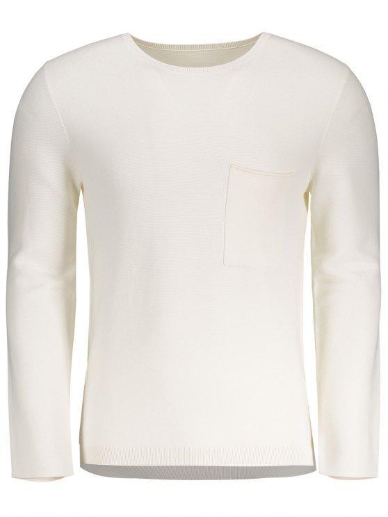 best Front Pocket Crew Neck Sweater - WHITE M