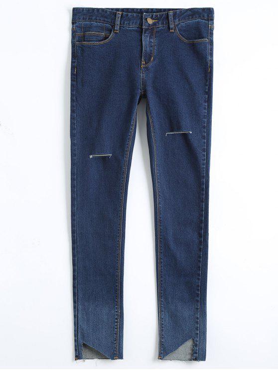 Skinny Ausschnitt High Low Bleistift Jeans - Denim Blau 28