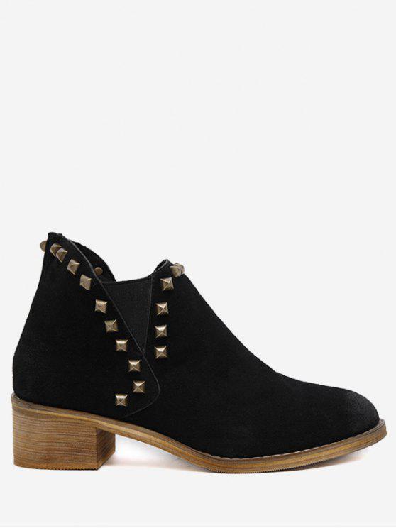 فو الجلد المدبوغ مسمار الكاحل الأحذية - أسود 37