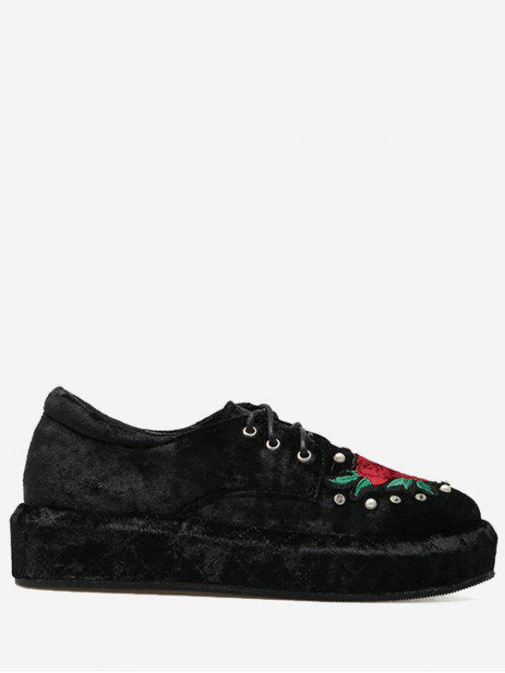 Faux Pearls Embroidery Velvet Platform Shoes - Preto 40