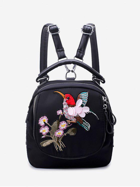 Rucksack aus Nylon mit Stickerei und Reißverschluss - Schwarz