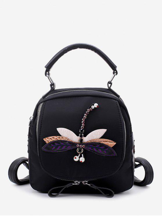 online Zippers Embroidery Nylon Backpack - BLACK AND PURPLE