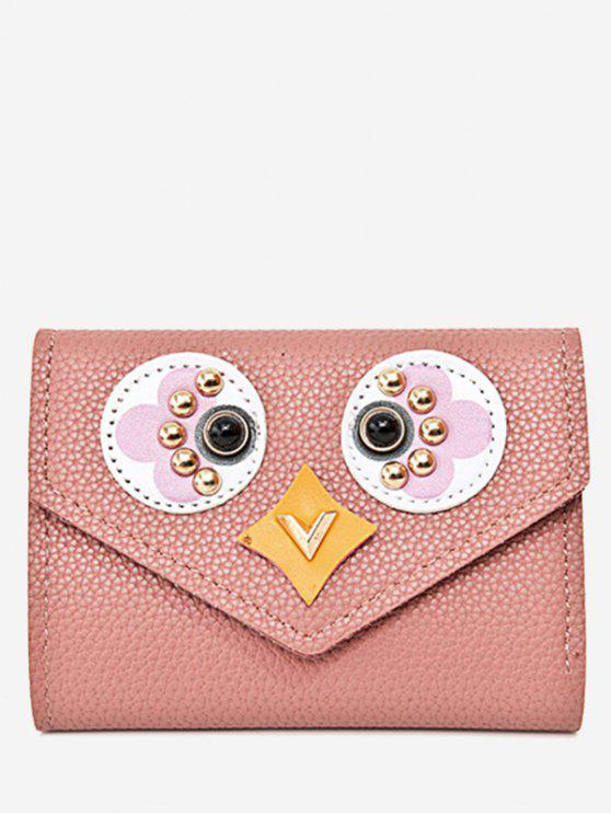 new Studded Envelope Textured Leather Small Wallet - PINK