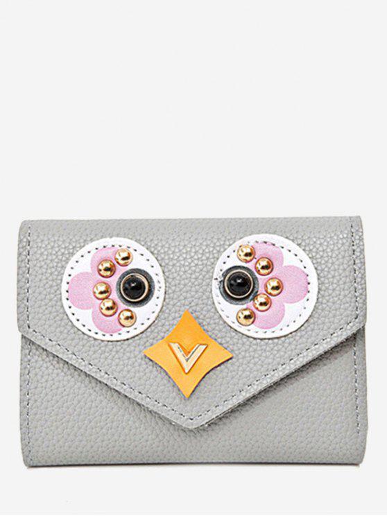 Enveloppe tressée Portefeuille en cuir texturé - Gris