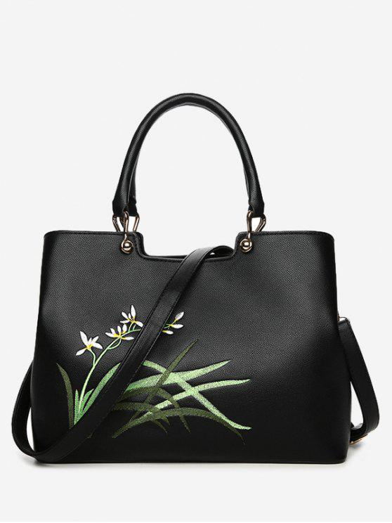 shop Faux Leather Embroidered Handbag With Strap - BLACK