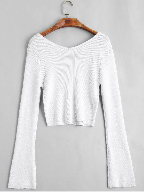 fancy Flare Sleeve Cropped V Neck Sweater - WHITE ONE SIZE