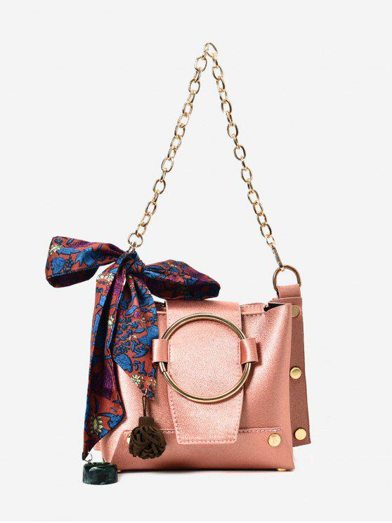 affordable Metal Ring Chain Scarf Shoulder Bag - PINK
