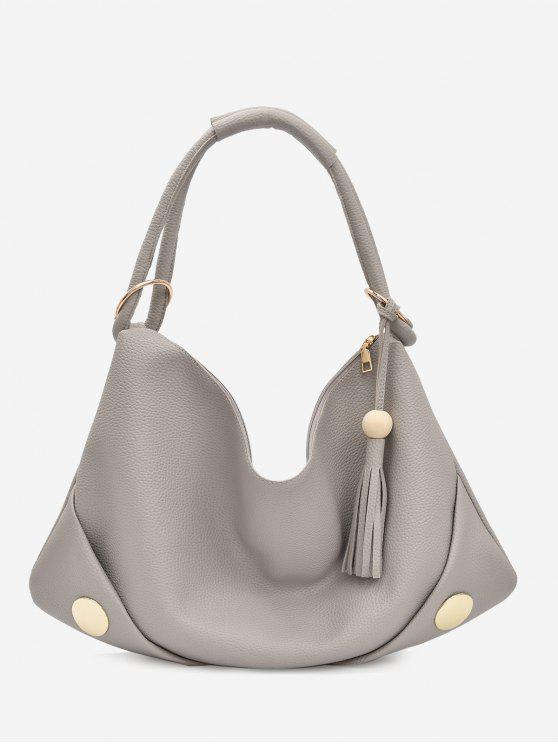 best PU Leather Zipper Tassel Shoulder Bag - GRAY