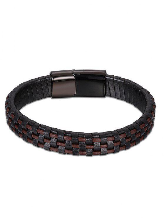 Bracelet en cuir artificiel frais - BRUN