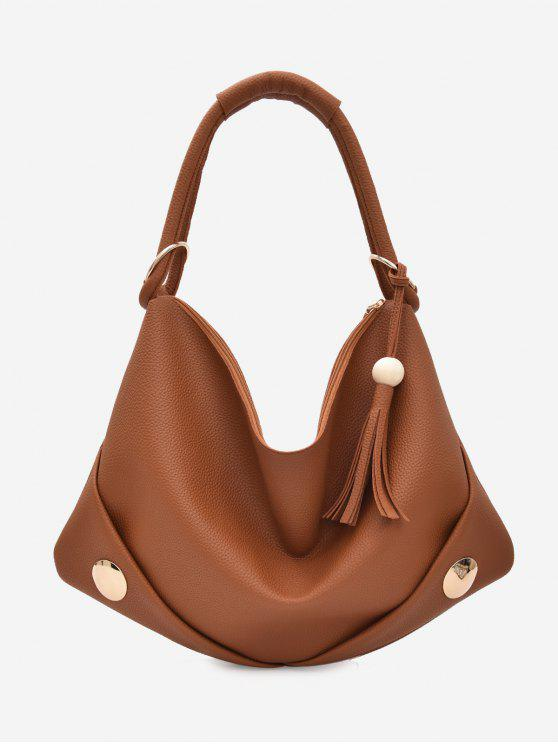 new PU Leather Zipper Tassel Shoulder Bag - BROWN