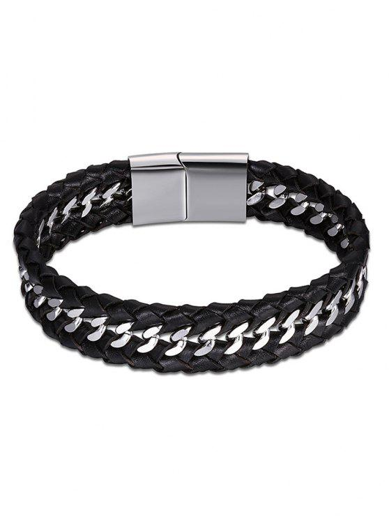Bracelete de Braid de Faux Leather fresco - Preto
