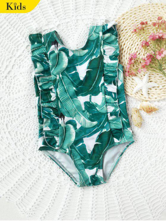 fancy Ruffles Palm Leaf Print Kids Swimwear - GREEN 4T