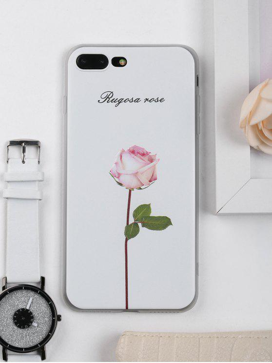buy Rose Flower Pattern Phone Case For Iphone - WHITE FOR IPHONE 7 PLUS