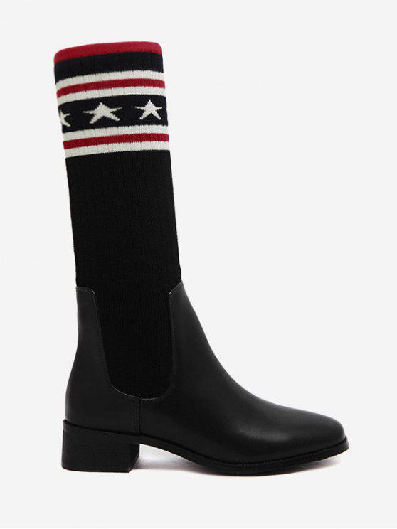 shop Pointed Toe Knit Insert Faux Leather Boots - BLACK 39