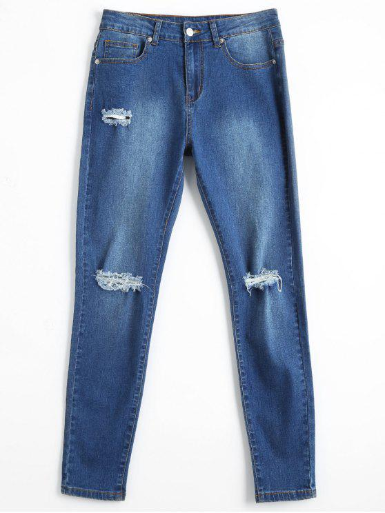 Bleach Wash Skinny Ripped Pencil Jeans - Denim Bleu M