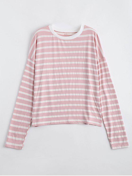 unique Drop Shoulder Striped Long Sleeve Tee - SHALLOW PINK M
