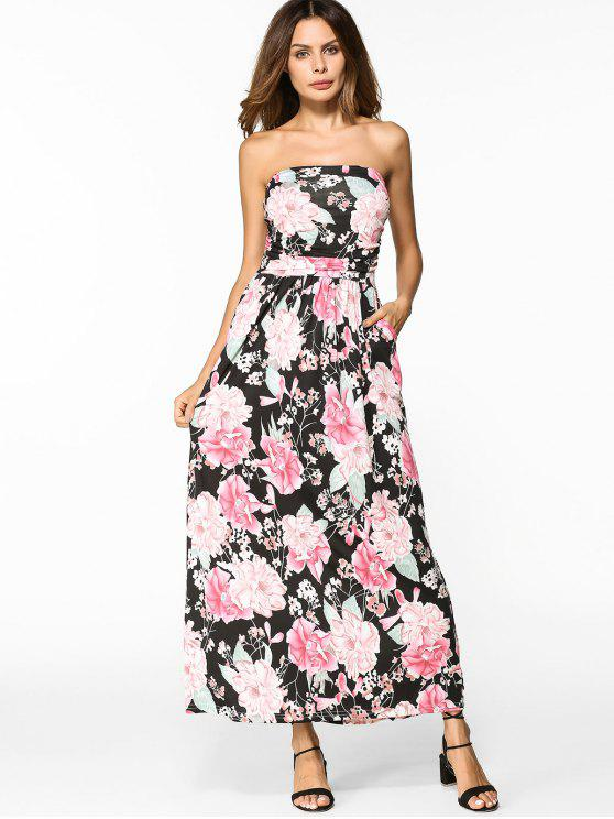 buy High Waist Floral Maxi Bandeau Dress - FLORAL M