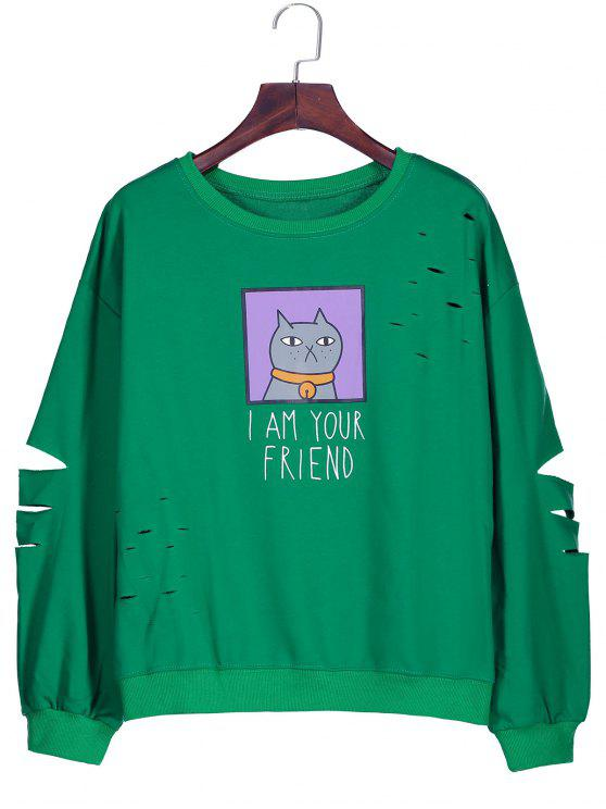 unique Graphic Cartoon Print Ripped Sweatshirt - GREEN ONE SIZE
