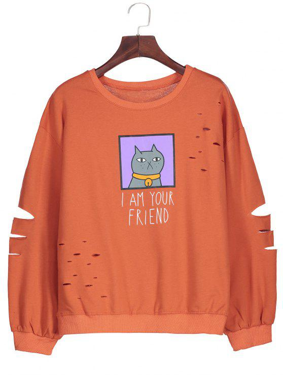 affordable Graphic Cartoon Print Ripped Sweatshirt - JACINTH ONE SIZE