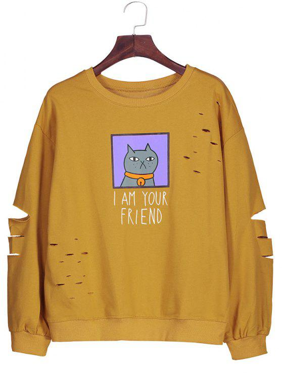 women Graphic Cartoon Print Ripped Sweatshirt - DEEP YELLOW ONE SIZE
