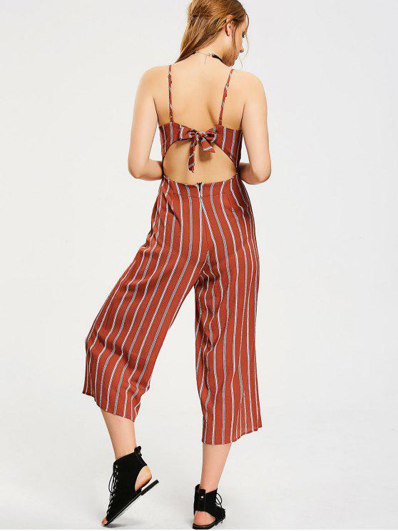 d902f6d11660 24% OFF  2019 Bowknot Cut Out Stripes Jumpsuit In STRIPE