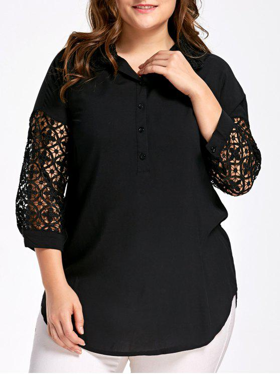 Hollow Out Sleeve Plus Size Blusa de botón medio - Negro 4XL