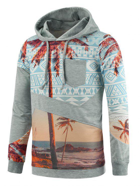 Cappuccio Tribal Coconut Tree Print Pocket Hoodie - colori misti L