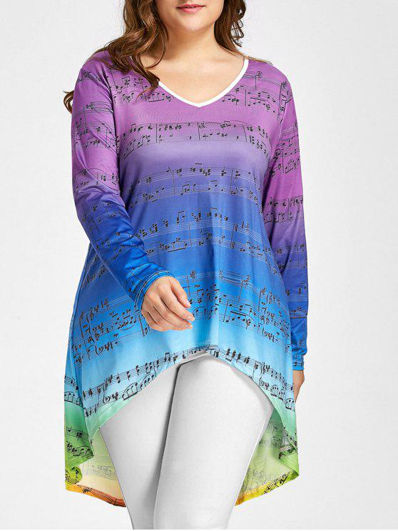 e803a02bb 28% OFF] 2019 Plus Size Music Notes High Low Ombre Tee In COLORMIX ...