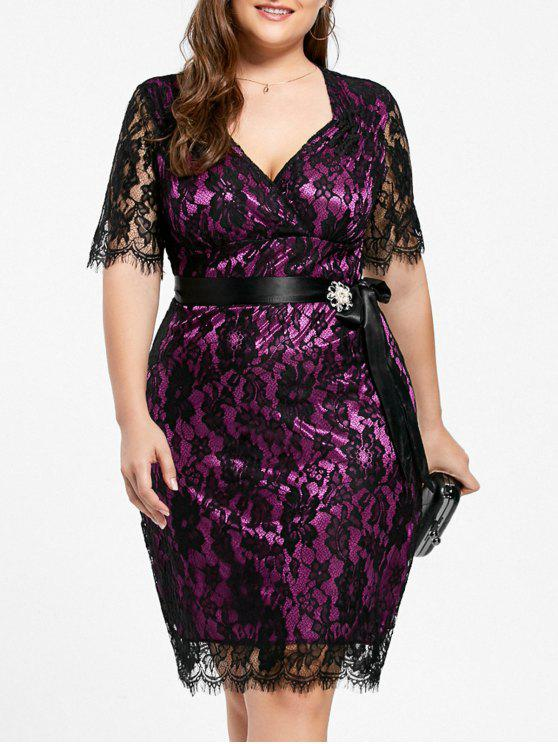 2018 Lace Plus Size Formal Party Dress In Black And Purple 2xl Zaful
