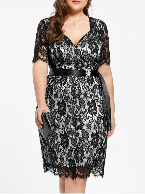 Lace Plus Size Formal Party Dress BLACK WHITE BLACK AND PURPLE
