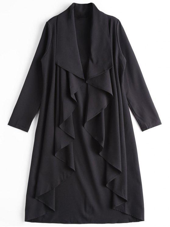معطف غير متماثل مفتوحة الجبهة خندق - أسود XL