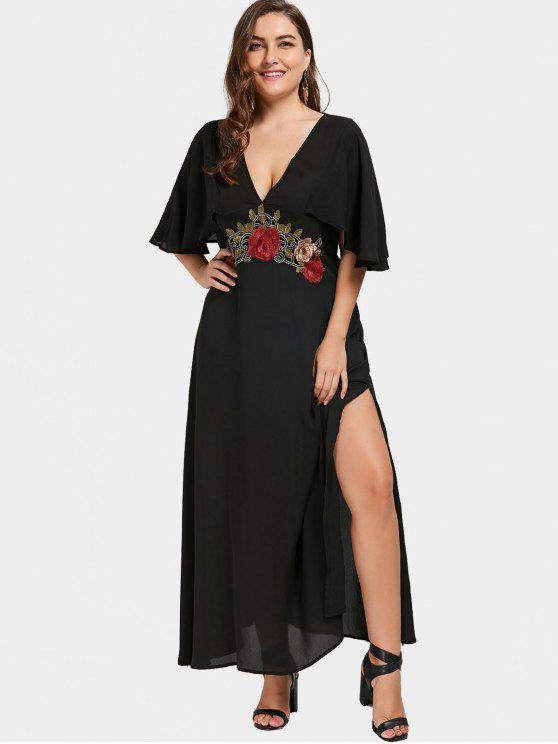 trendy Applique Plunging Neck Plus Size Maxi Dress - BLACK 3XL