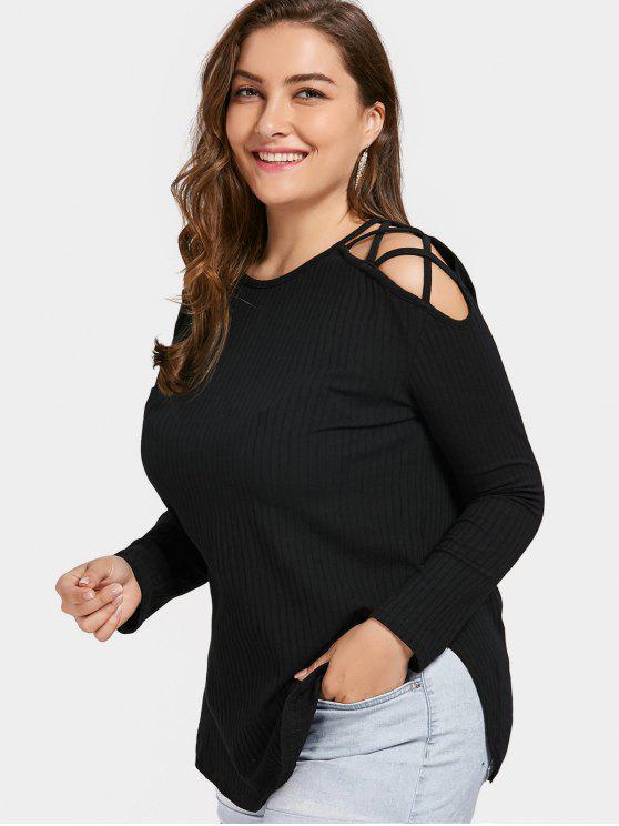 Übergröße T-Shirt mit Kalter Schulter und Kreuzgurte an der Schulter - Schwarz 4XL