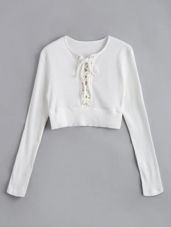 2445718370 24% OFF  2019 Long Sleeve Lace Up Crop Sweater In WHITE M