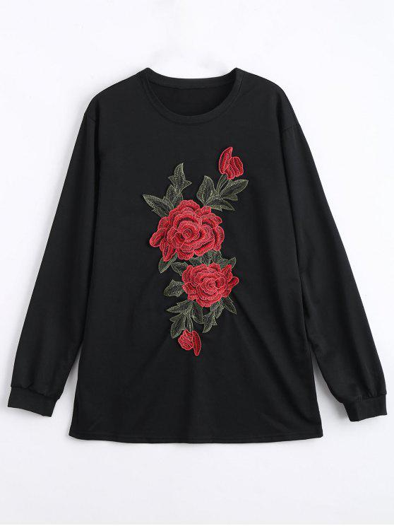 Mini flor bordada Sudadera vestido - Negro S