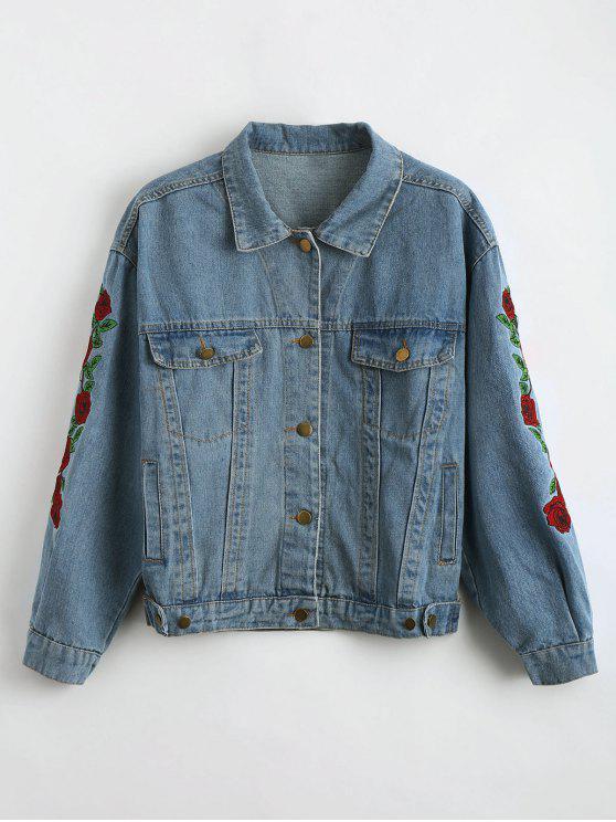 chic Drop Shoulder Embroidered Denim Jacket - CHARM S