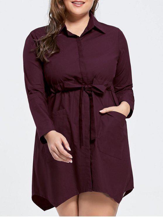 فستان برباط ذو حافة متباينة الطول - نبيذ أحمر 4XL