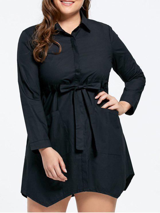 فستان برباط ذو حافة متباينة الطول - أسود 5XL