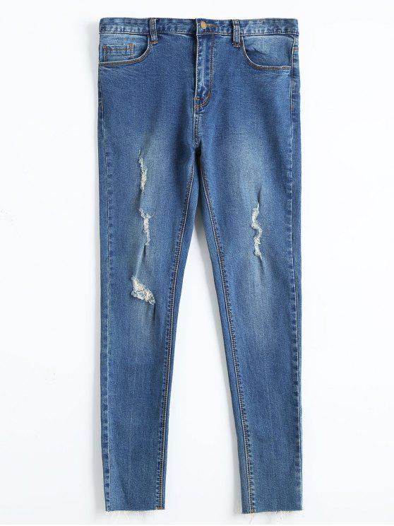 Skinny Fringed Ripped Pencil Jeans - Jeans Azul 28