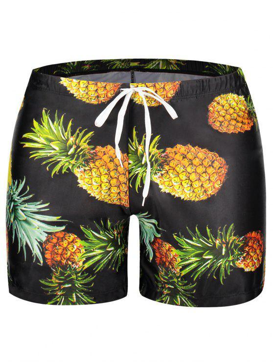 unique Pocket Pineapple Print Swim Trunks - BLACK 2XL