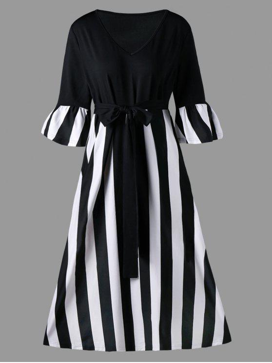 فستان ميدي الحجم الكبير - شريط أسود 3XL