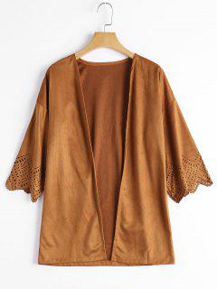 Hollow Out Faux Suede Kimono Top - Camel M