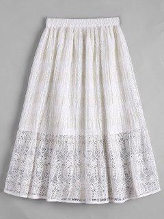 Lace Tea Length High Waisted Skirt - White M
