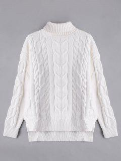 High Low Turtle Neck Cable Knit Sweater - White M