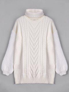 Fuzzy Longline Sweater With Choker - White L