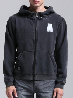 Graphic A Zip Up Hoodie - Black L