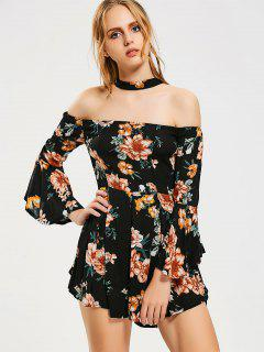 Flare Sleeve Choker Floral Romper - Black S