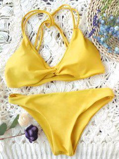 Padded Strappy Knot Bikini Set - Mustard M