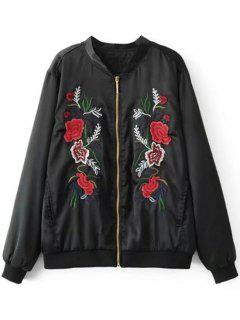 Floral Embroidery Bomber Jacket - Black L